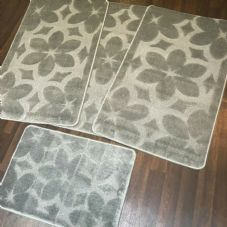 ROMANY GYPSY WASHABLE SETS OF TOURER SIZE 67X110CM MATS/RUGS NEW FLOWER SILVER
